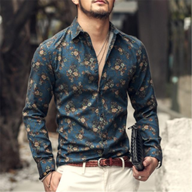 Men's Floral Button Down Shirt