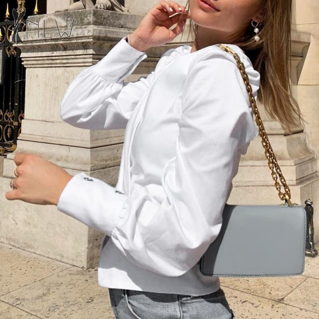 NLW White Long Sleeve Autumn Blouses Tops Women 2019 Elegant Peplum Blouse Shirts Vintage V Neck Office Puff Sleeve Blusa