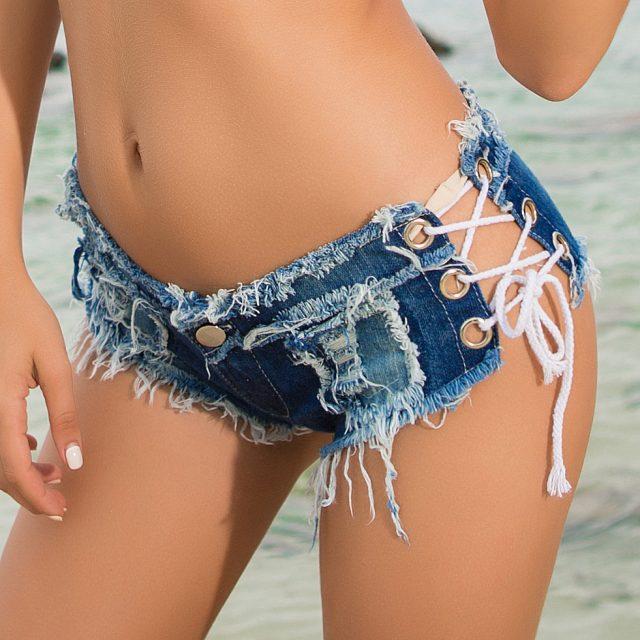 5 Colors Lace Up Sexy Cutout Pole dance thong Bar shorts Women jeans denim Micro Ultra Low Rise Waist Clubwear  Summer DK075S40
