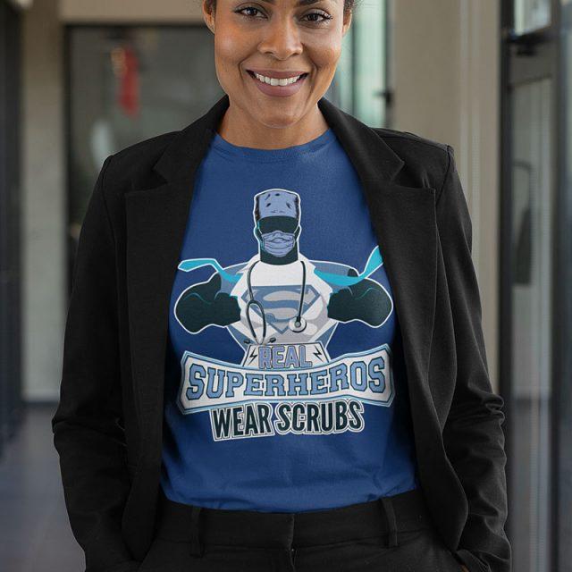 superheros-wear-scrubs-woman-in-black-jacket