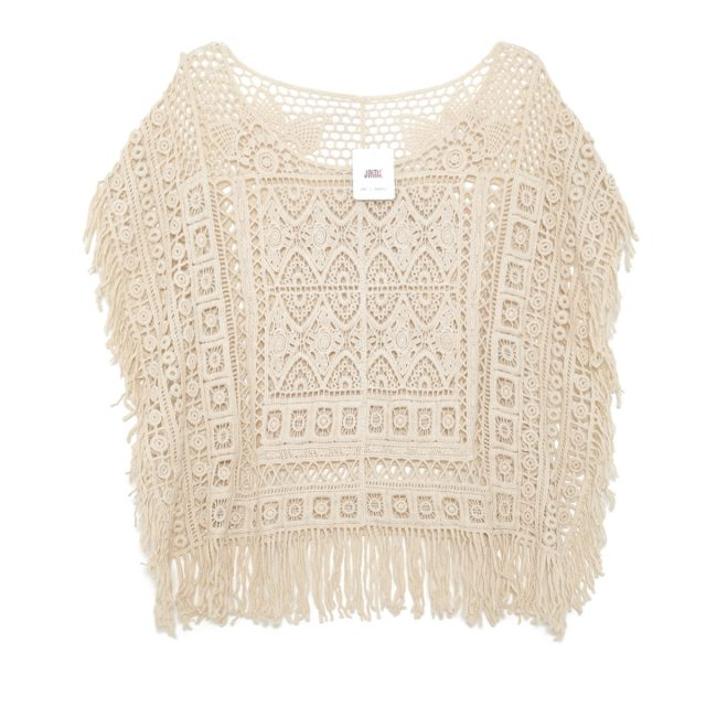 Jastie Boho Chic Crochet Lace Top Tassel Batwing Sleeve Loose Casual Beach Blouse Shirt Hollow out Floral Embroidery Women Shirt