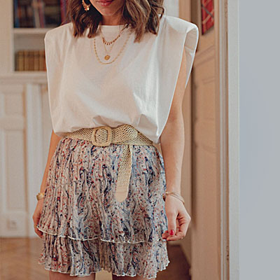 knee high skirt with shoulder pad t shirt